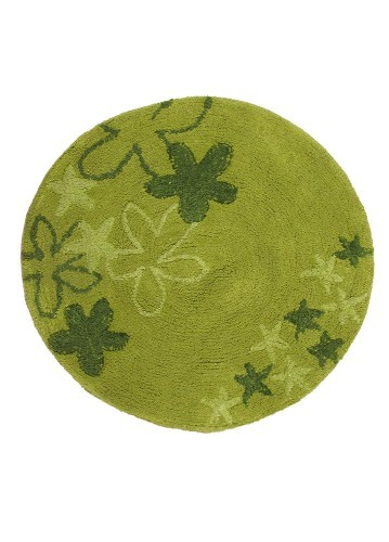 Alfombra de baño estrellas redonda verde