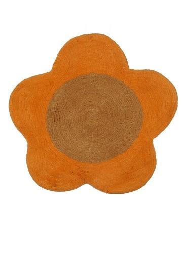 Alfombra de baño flor naranja redonda