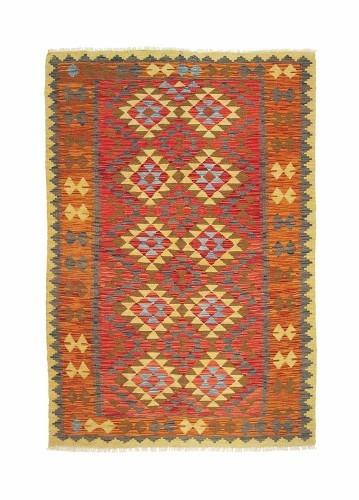 Alfombra kilim afgano de lana 2014x132cm