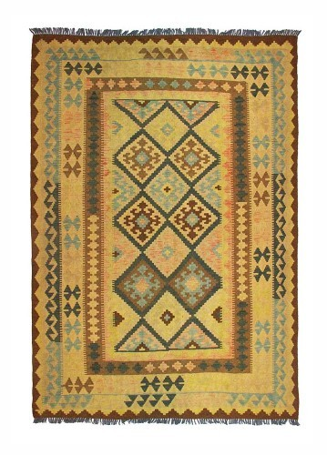 kilim artesanal tejido en Afganistán. 212x147cm