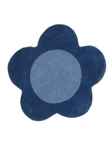 Alfombra de baño flor azul redonda 70cm