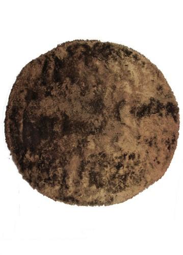 Alfombra de pelo largo redonda marrón 250cm