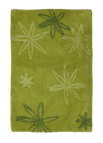 Alfombra de baño flores de algodón verde