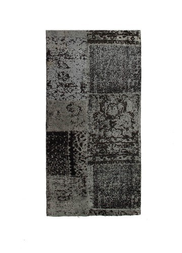 Alfombra patchwork de viscosa antracita 70x140cm