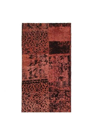 Alfombra patchwork viscosa rojo 70x140cm