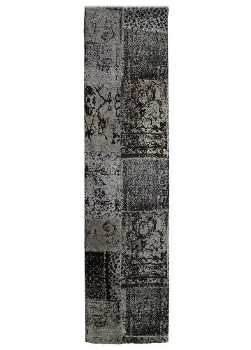 Alfombra patchwork de pasillo antracita 250x70